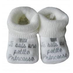 Chaussons naissance blanc je suis une princesse