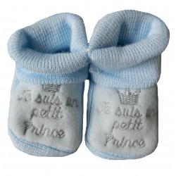 Chaussons naissance bleu je suis un petit prince