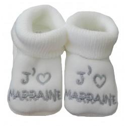 Chaussons naissance blanc j'aime marraine