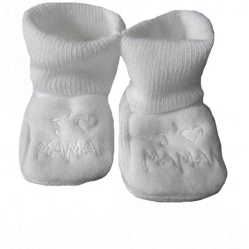 Chaussons bébé blanc j'aime maman