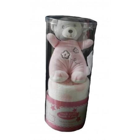 Coffret doudou couverture ourson rose et blanc