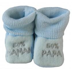 Chaussons naissance bleu 50% papa 50% maman