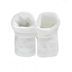 Chaussons bébé blanc j'aime tonton