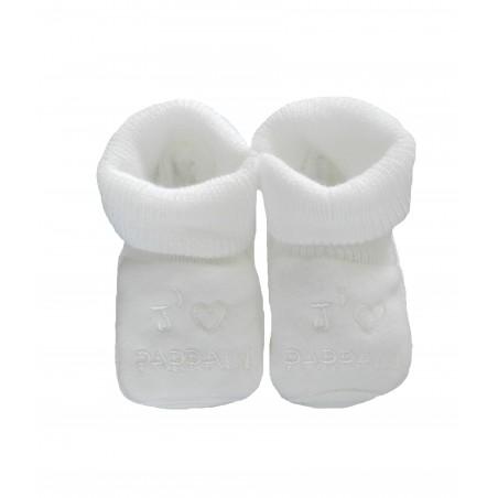 Chaussons j'aime parrain blanc