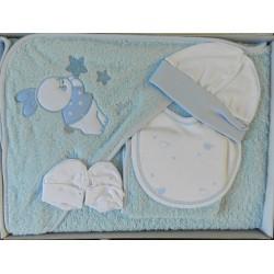 Parure de bain bébé bleu motif lapin