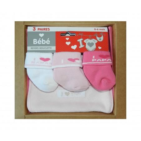 Coffret bavoir et chaussettes pour bébé