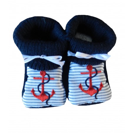 Chaussons naissance encre marine rouge