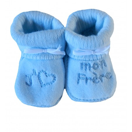 Chaussons naissance j'aime mon frère bleu