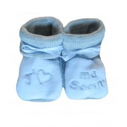 Chaussons naissance blanc et gris j'aime ma sœur