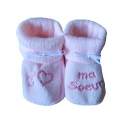Chaussons naissance fille j'aime ma sœur