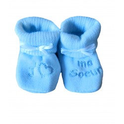 Chaussons naissance j'aime ma sœur bleu