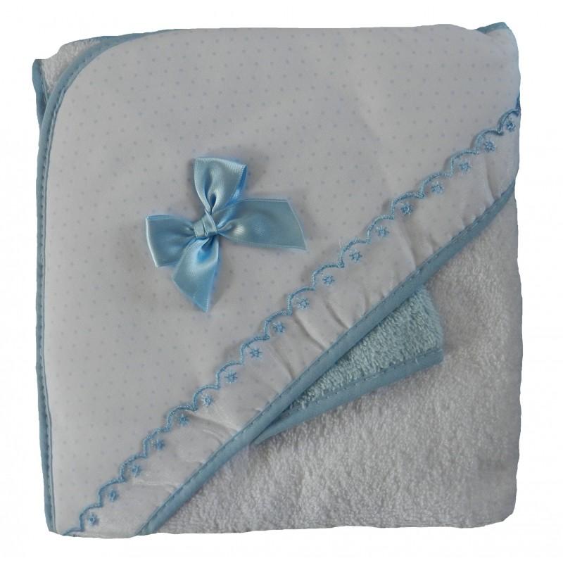 Sortie de bain bébé garçon nœud en satin bleu