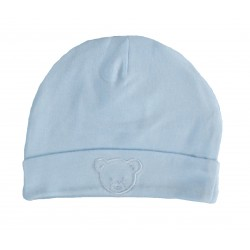 Bonnet naissance bleu 100% coton