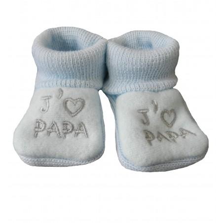 Chaussons naissance j'aime papa bleu
