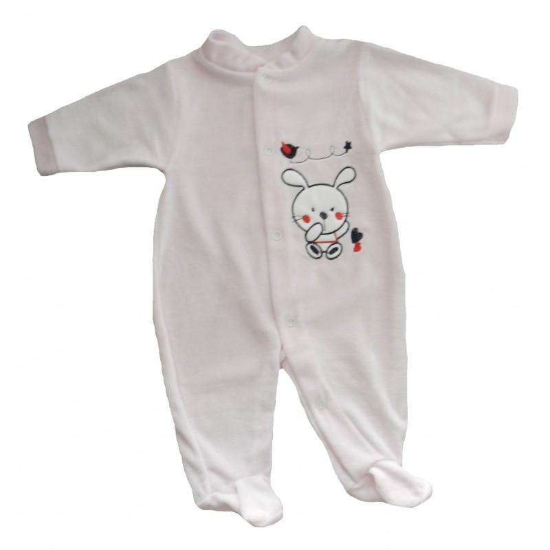 Pyjama bébé fille en velours lapin rose