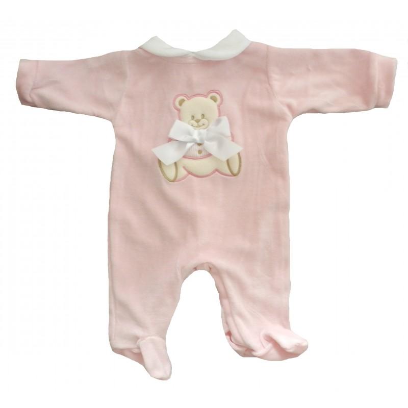 Pyjama bébé en velours rose broderie ourson