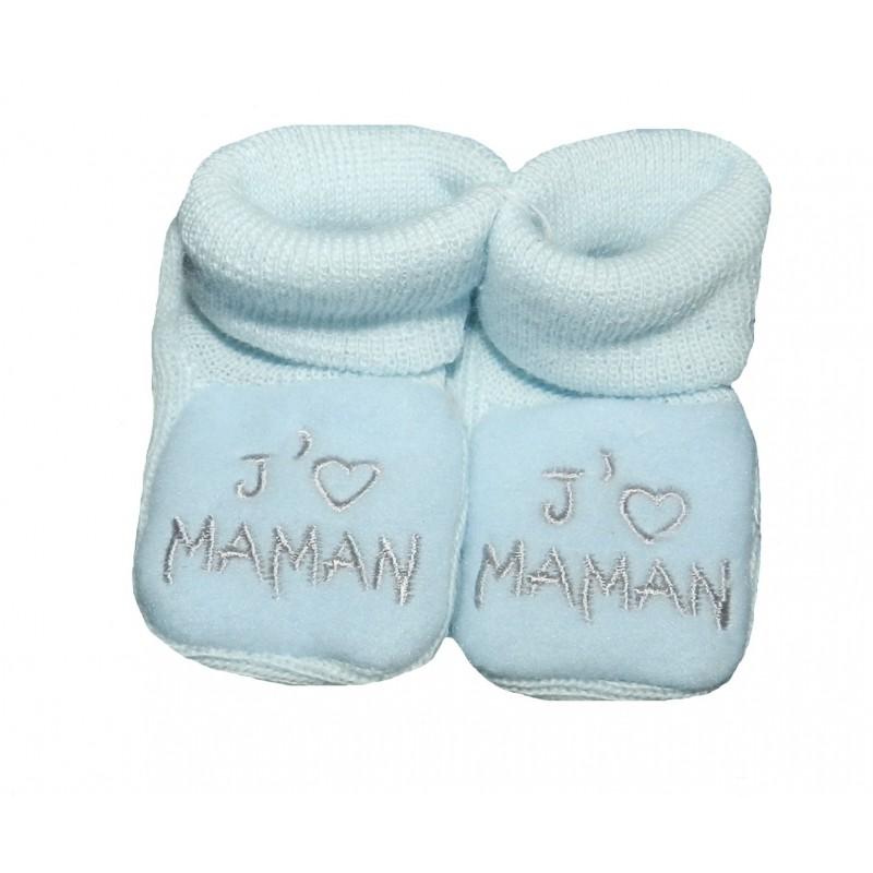 Chaussons naissance bleu j'aime maman