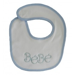 Bavoir naissance blanc et bleu bébé