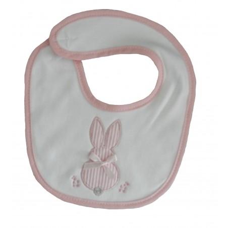 Bavoir naissance blanc et rose lapin
