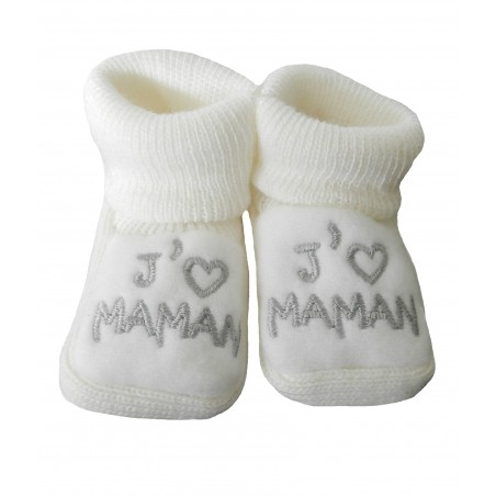 Chaussons naissance blanc j'aime maman