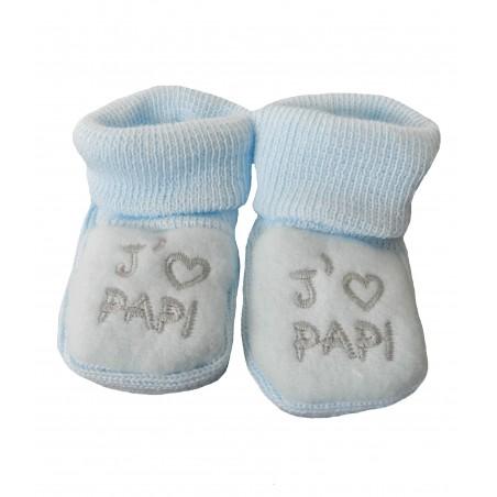 Chaussons naissance j'aime papi bleu