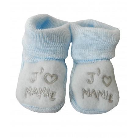 Chaussons naissance j'aime mamie bleu