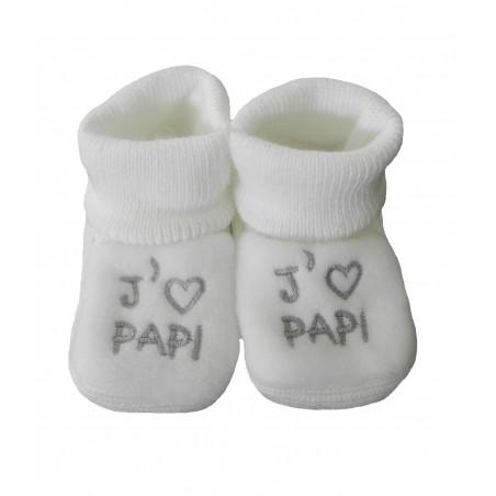 Chaussons naissance blanc j'aime papi