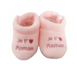 Chaussons rose bébé polaire