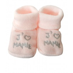 Chaussons naissance rose j'aime mamie