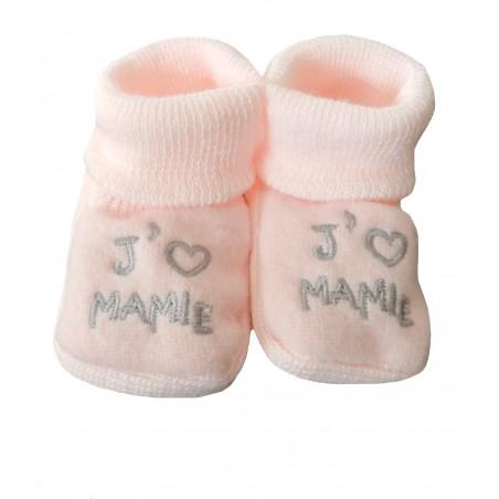 Chaussons naissance rose j'aime mamie