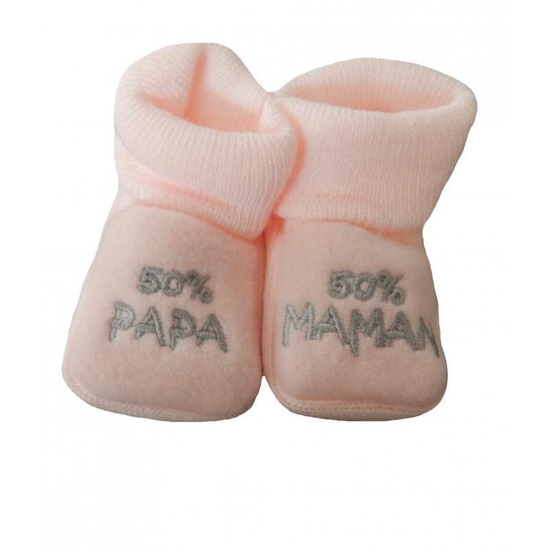 Chaussons naissance rose 50% papa 50% maman
