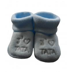Chaussons naissance bleu j'aime tata