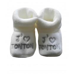 Chaussons naissance blanc j'aime tonton