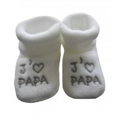Chaussons naissance blanc j'aime papa