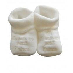 Chaussons bébé je suis un prince blanc