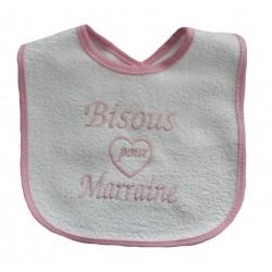 Bavoir bébé fille bisous pour marraine