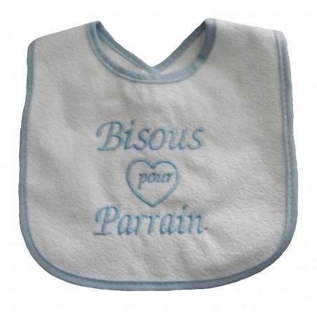 Bavoir bébé blanc et bleu-ciel bisous pour parrain