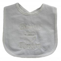 Bavoir bébé beige bisous pour tonton
