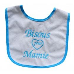 Bavoir bébé bisous pour mamie blanc et turquoise