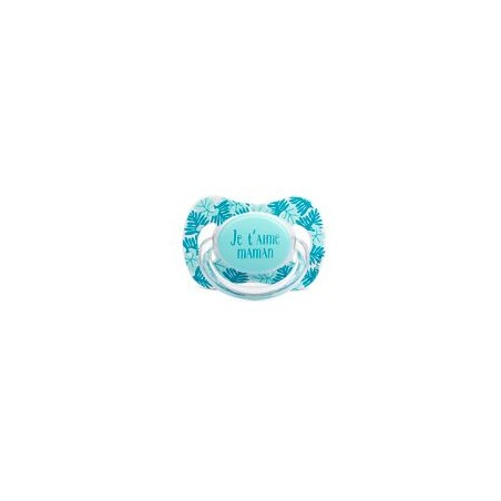 Sucette turquoise je t'aime maman