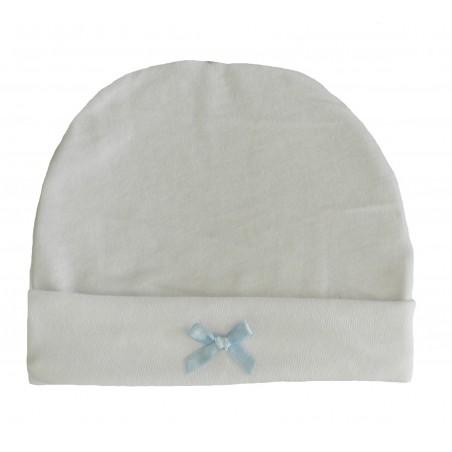 Bonnet naissance blanc nœud bleu-ciel en satin