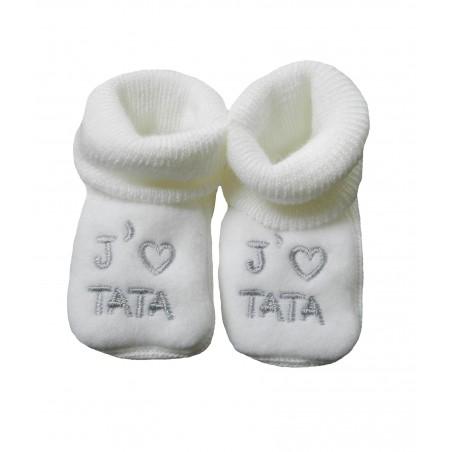 Chaussons naissance blanc j'aime tata