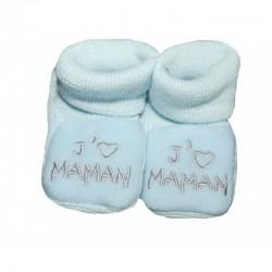 chaussons naissance j'aime maman bleu