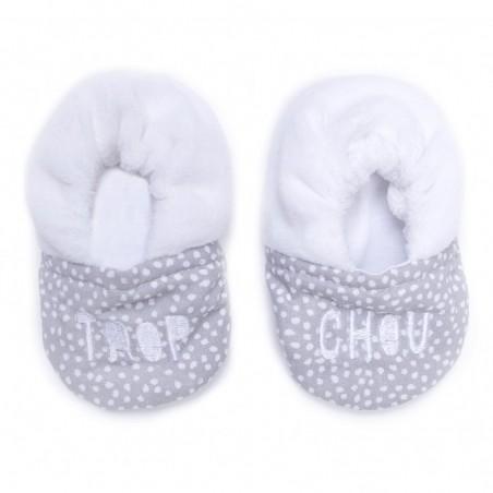 """Chaussons bébé bi matière gris et blanc """"Trop chou"""""""