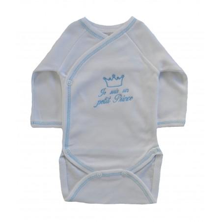 Body bébé blanc et bleu je suis un prince