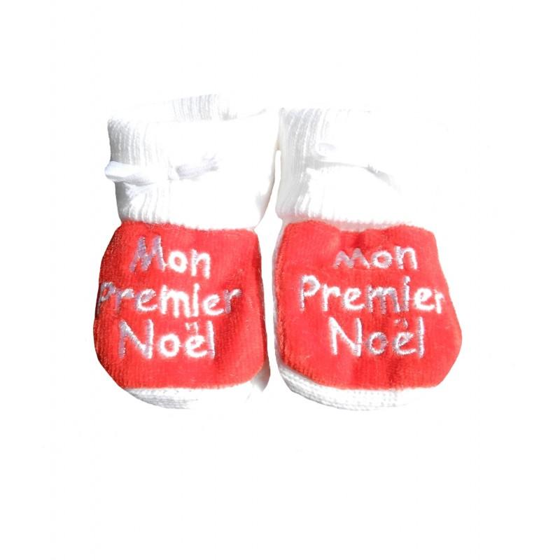 Chaussons naissance blanc et rouge mon premier noël