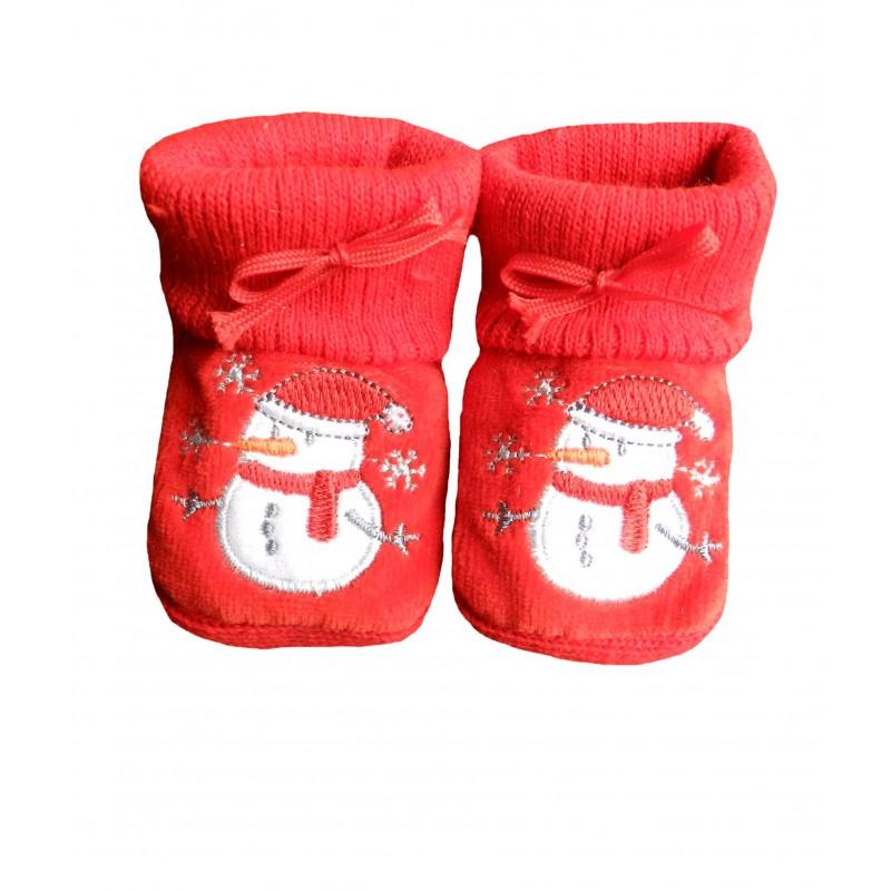 Chaussons naissance rouge bonhomme de neige