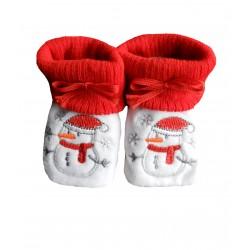 Chaussons naissance rouge et blanc bonhomme de neige