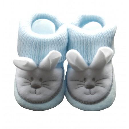 Chaussons naissance tête de souris bleu