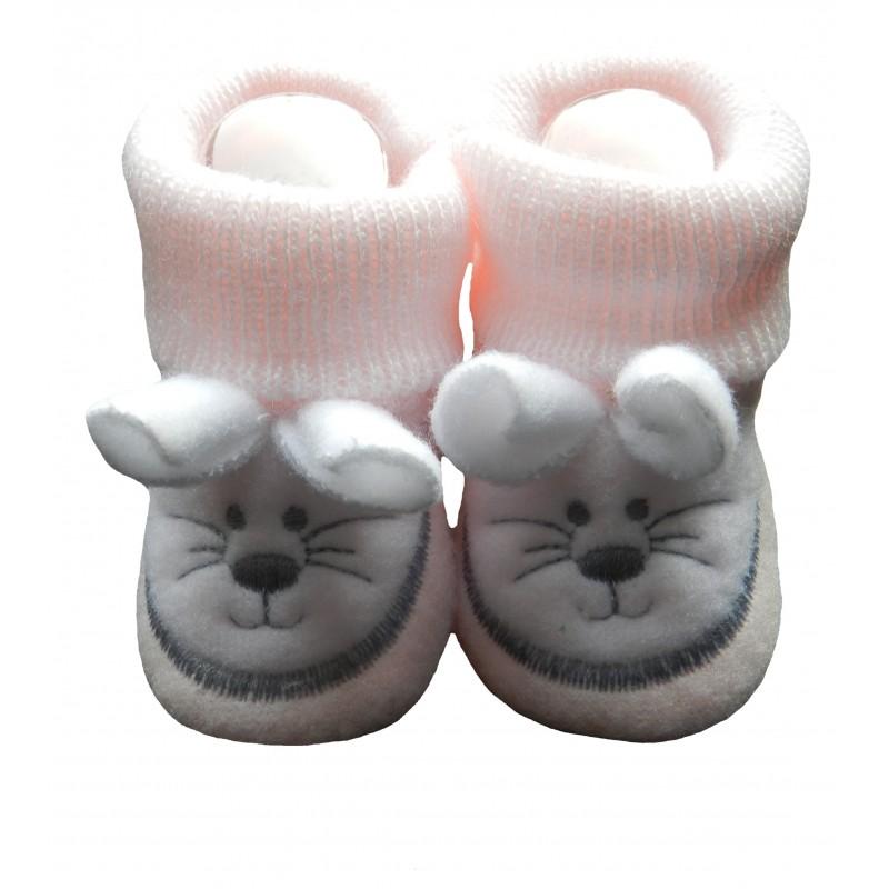 Chaussons bébé rose tête de souris
